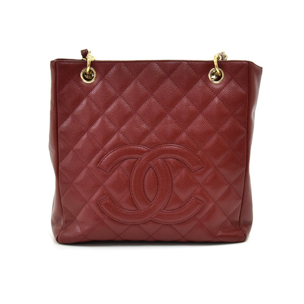 Buy & Consign Authentic Chanel Petite Shopping Tote Burgundy Quilted Caviar Leather Bag at The Plush Posh