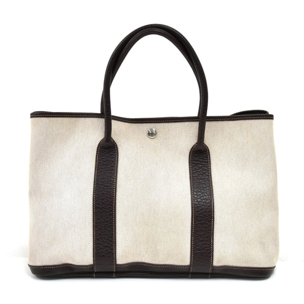 Buy & Consign Authentic Hermes Garden Party PM Chocolate Brown Leather Beige Canvas Handbag at The Plush Posh