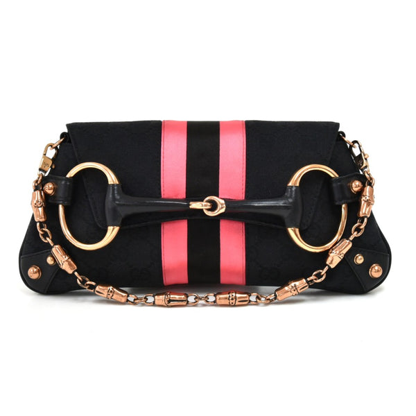 Buy & Consign Authentic Gucci Black GG Canvas Horsebit Black & Pink Web 2Way Clutch Shoulder Bag at The Plush Posh