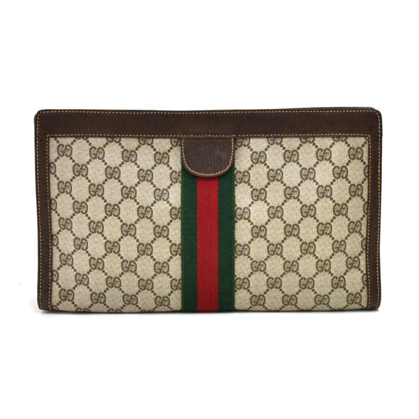 Buy & Consign Authentic Gucci Vintage GG Supreme Coated Canvas Clutch Bag at The Plush Posh