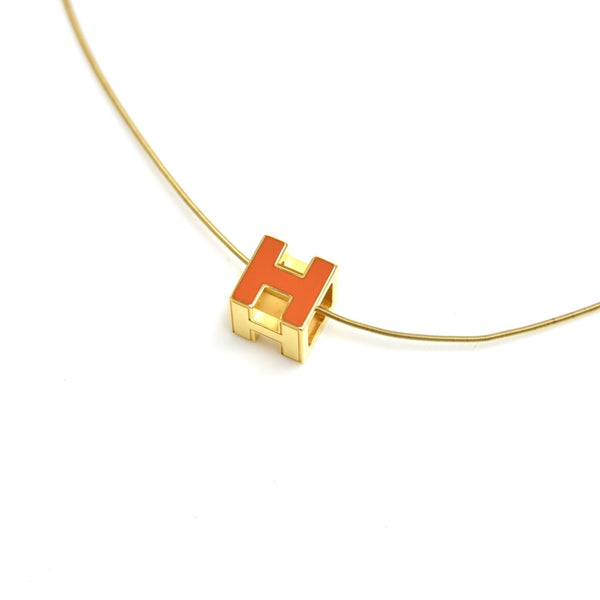 Buy & Consign Authentic Hermes Cage'd H Orange Enamel and Gold Plated Necklace at The Plush Posh