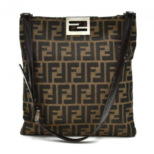 Buy & Consign Authentic Fendi Tobacco Zucca and Brown Leather Flat Shoulder Bag at The Plush Posh