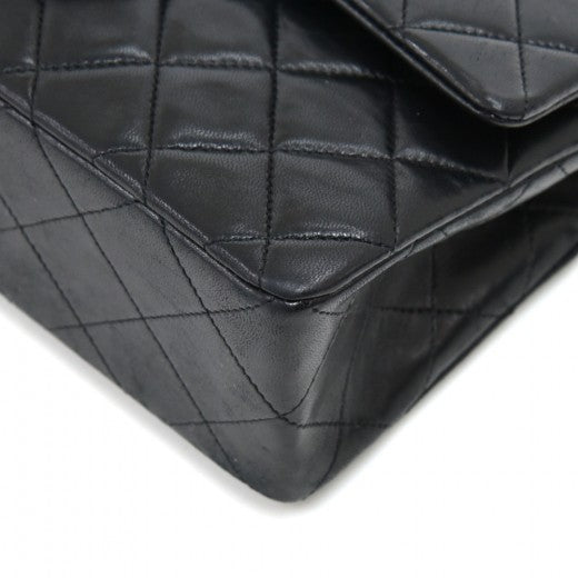 Chanel Classic 9 Double Flap Black Quilted Leather Bag
