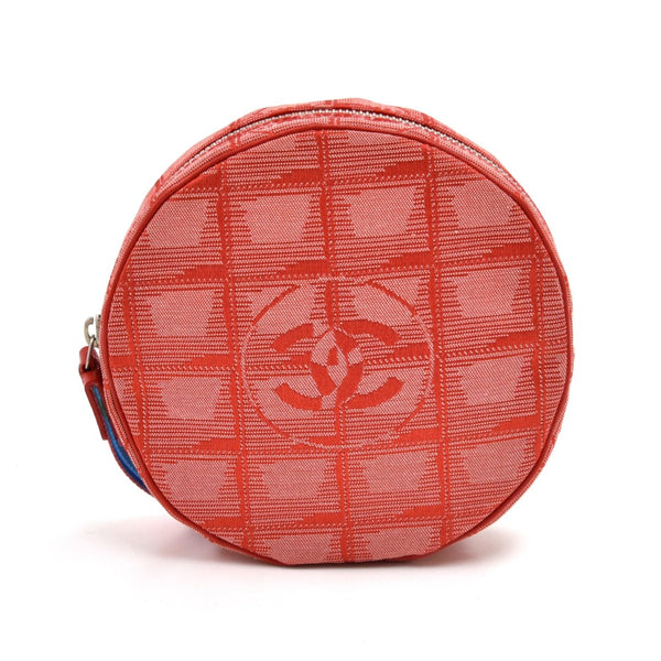 Buy & Consign Authentic Chanel Travel Line Red Jacquard Nylon Round Wristlet Bag at The Plush Posh