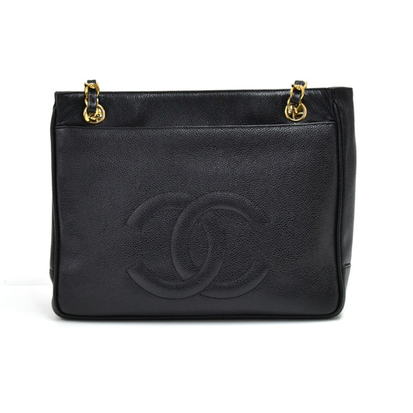 Buy & Consign Authentic Chanel Black Caviar Leather Front Pocket Twist Lock Shoulder Bag at The Plush Posh