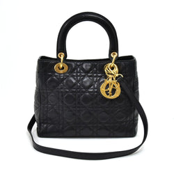 Buy & Consign Authentic Dior Lady Dior Medium Black Quilted Cannage Leather Handbag at The Plush Posh