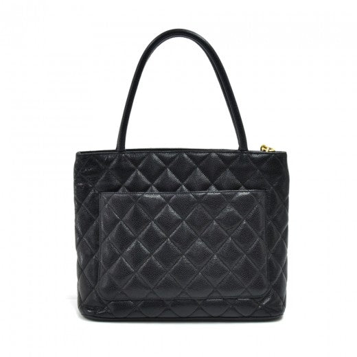 Buy & Consign Authentic Chanel Medallion Black Quilted Caviar Leather Tote Bag at The Plush Posh