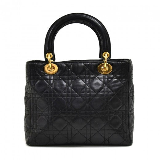 Christian Dior Lambskin Cannage Medium Lady Dior Black