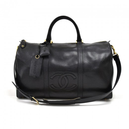Chanel Calfskin Stitched CC Boston Black