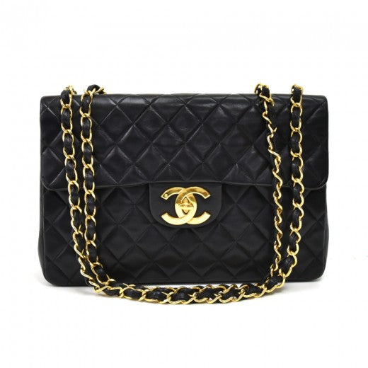 Chanel Classic 13 Maxi Jumbo Black Quilted Lambskin Leather Classic Flap Bag
