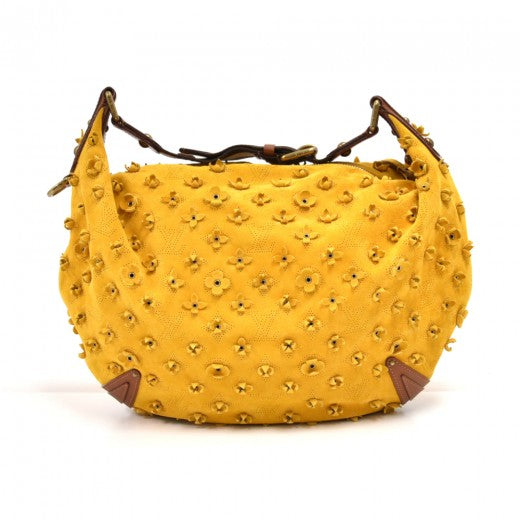 Louis Vuitton Limited Edition Onatah Fleur GM Yellow Suede Perforated Monogram Hobo Bag