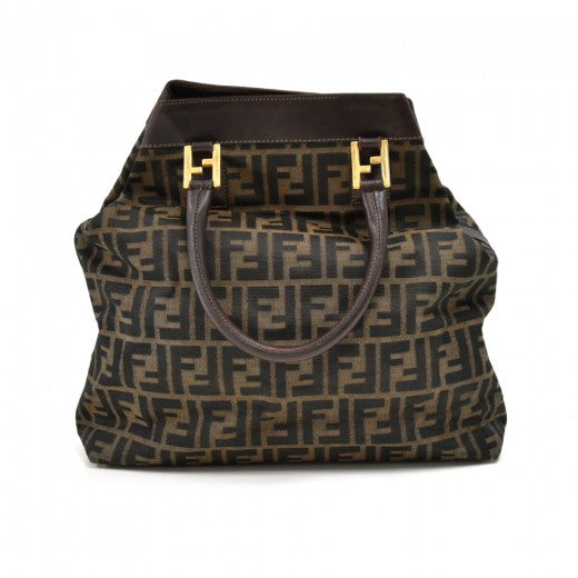 Fendi Tobacco Zucca Nylon & Brown Leather Large Handbag