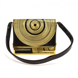 Fendi Deep Brown & Gold Circular Swirl Flap Shoulder bag