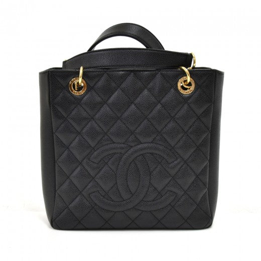 Chanel Caviar Quilted CC Shopping Tote Black