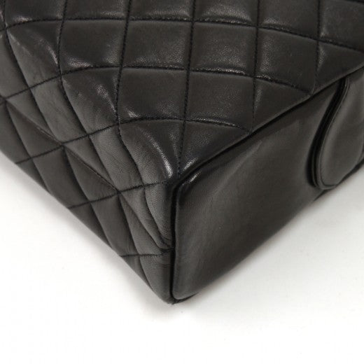 Chanel Double pocket Black Quilted Leather Chain Shoulder Bag