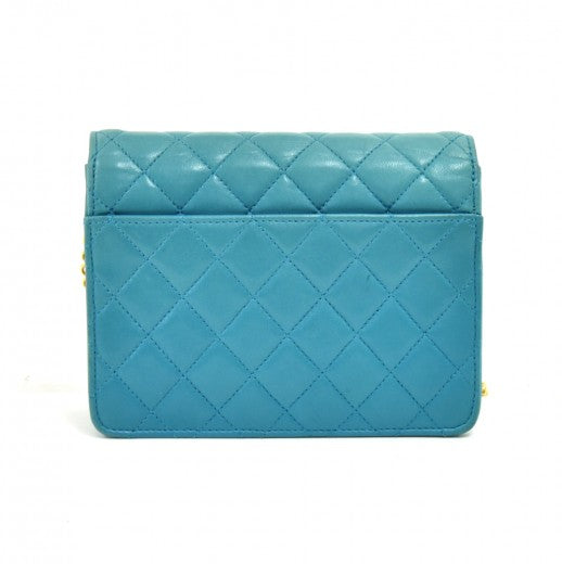 Chanel Turquoise Lambskin Leather Mini Flap Clutch