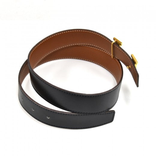 Hermes Constance Black & Brown Reversible H Belt 32 mm-Size 75