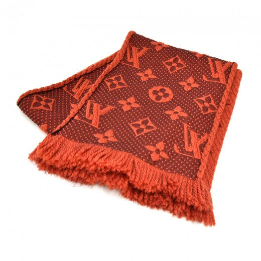 Louis Vuitton Logomania Deep Orange Orient Wool & Silk Blend Scarf