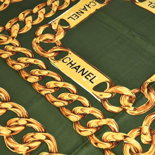 Vintage Chanel Deep Green and Gold Chain & Medallion Silk Scarf