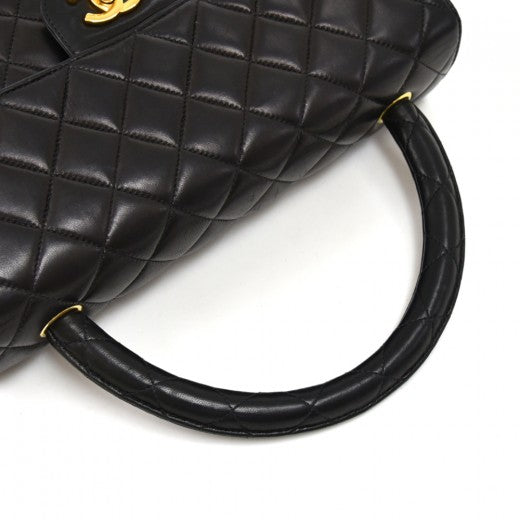 Chanel Calfskin Quilted Medium Top Handle Flap Black
