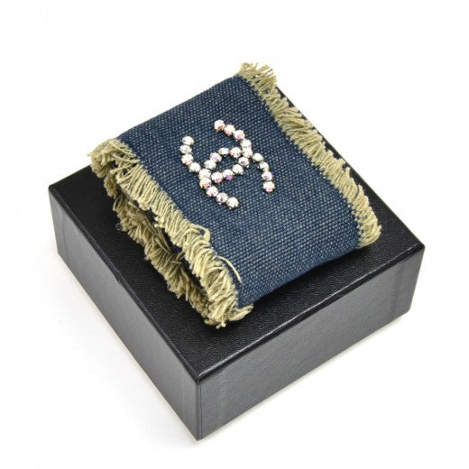 Chanel Denim Rhinestone Crystal CC Cuff