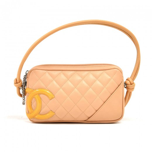Chanel Calfskin Quilted Large Cambon Bowler Beige Yellow