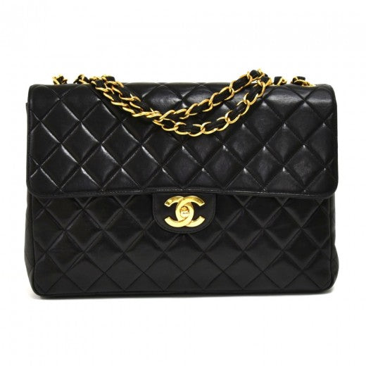 Chanel 12 Jumbo Black Quilted Leather Shoulder Classic Flap Bag