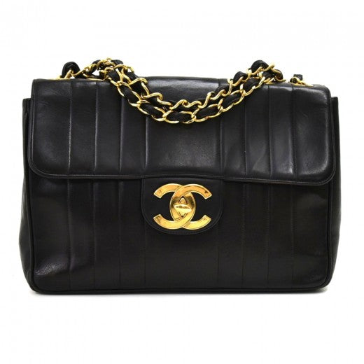 Chanel Jumbo Black Vertical Quilted Leather Shoulder Flap Bag
