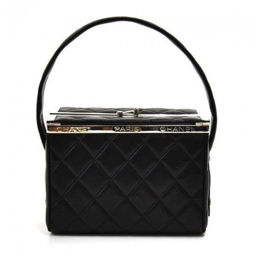Chanel Black Quilted Leather Vanity Style Hard-sided Handbag