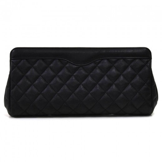 Chanel Black Quilted Crinkled Calfskin Leather Long Clutch