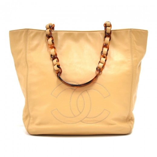 Vintage Chanel Beige Lambskin Leather & Tortoise Shell Style Strap Tote Bag