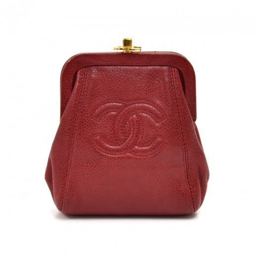 Chanel Red Caviar Leather CC Logo Kiss Lock Coin Case Purse
