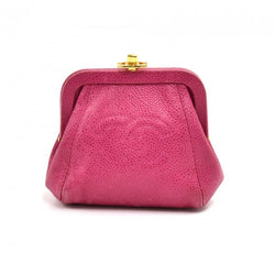 Chanel Fuchsia Pink Caviar Leather Top Frame Kiss Lock Coin Case Purse