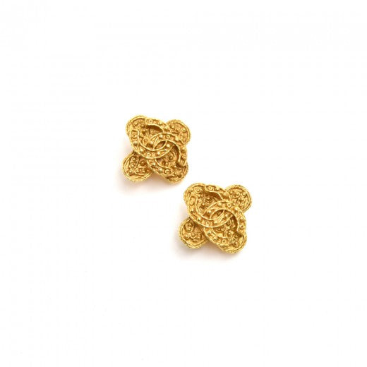 Chanel Etruscan Style Gold Tone CC Logo 4 Leaf Clover Earrings