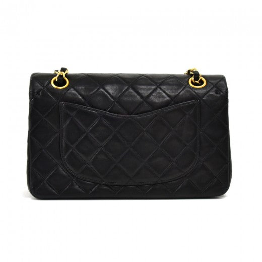 Vintage Chanel Classic 9 Double Flap Black Quilted Leather Shoulder Bag