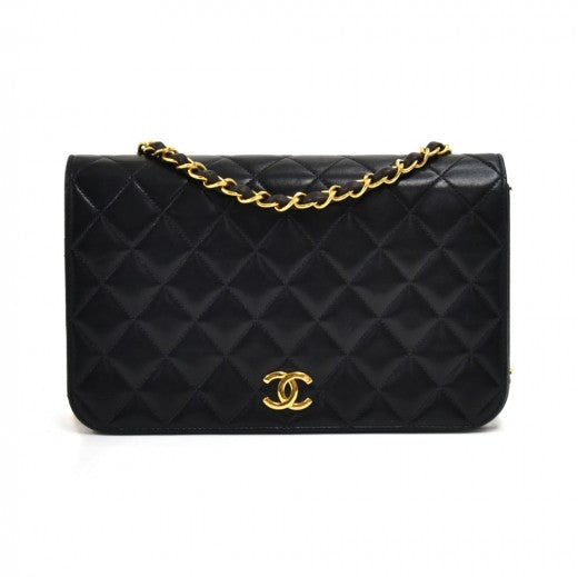 Chanel Vintage Classic Black Quilted Leather Shoulder Single Flap