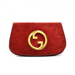 Gucci Vintage Red Suede GG Logo Clutch 1950s-60s