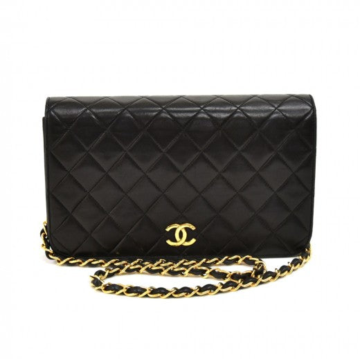 Chanel Classic Black Quilted Lambskin Leather Shoulder Flap Bag