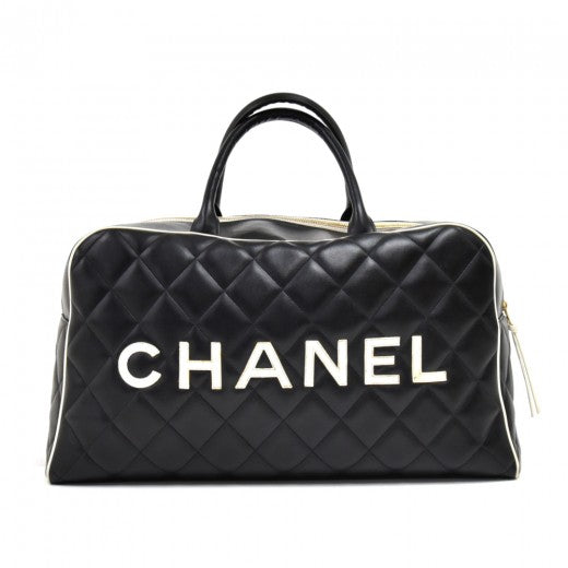 Chanel Sports Black Quilted Calfskin Boston Travel Bag