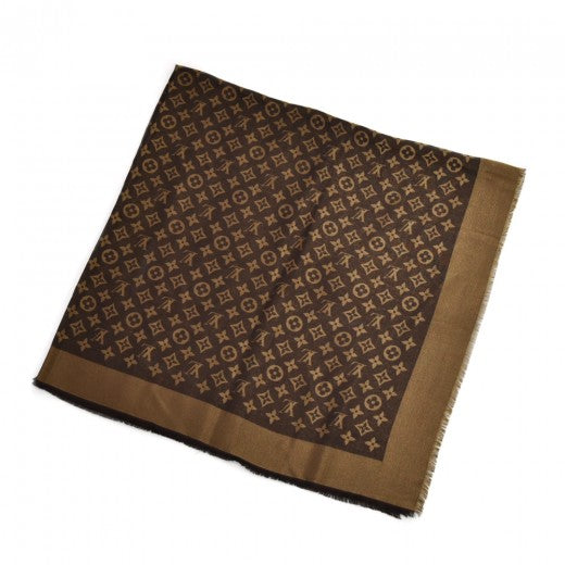 Louis Vuitton Monogram Brown Logo Mania Silk Wool Blend Scarf