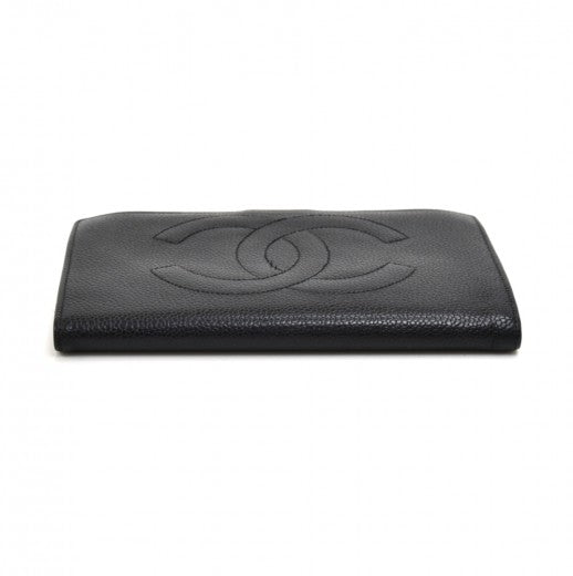 Chanel Black Caviar Leather CC Logo Long Wallet