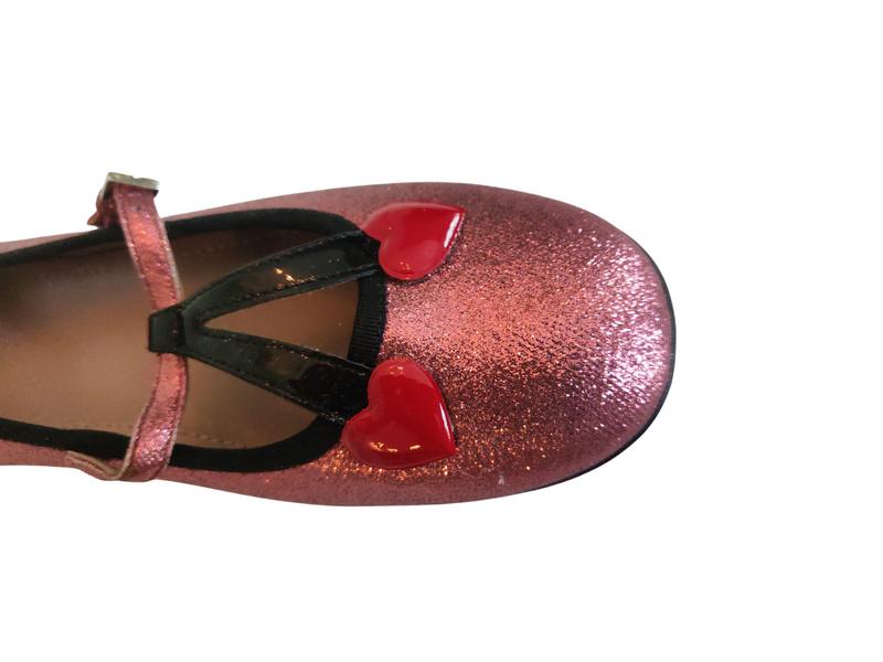 Gucci Pink Shimmer Fabric Ballet Flats With Hearts