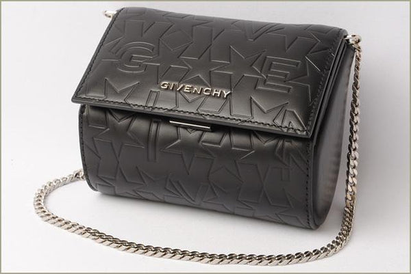 Buy & Consign Authentic Givenchy Star Calfskin Micro Pandora Box Clutch Black at The Plush Posh