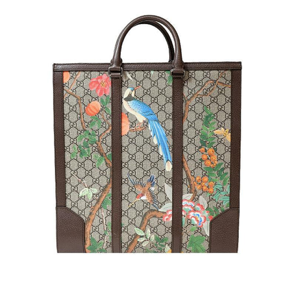Buy & Consign Authentic Gucci GG Supreme Monogram Tian Print Tote Maple Brown at The Plush Posh