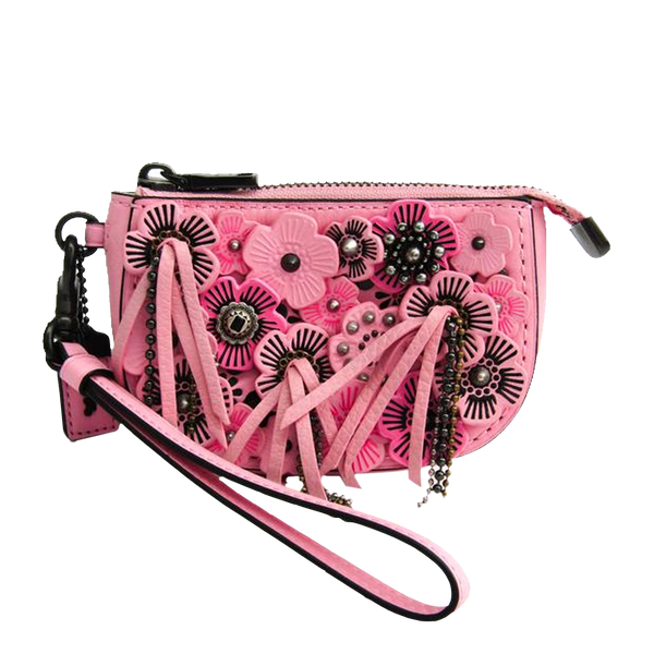 Buy & Consign Authentic Coach Pink Rose Accented Leather Tea Rose Wristlet Pouch at The Plush Posh