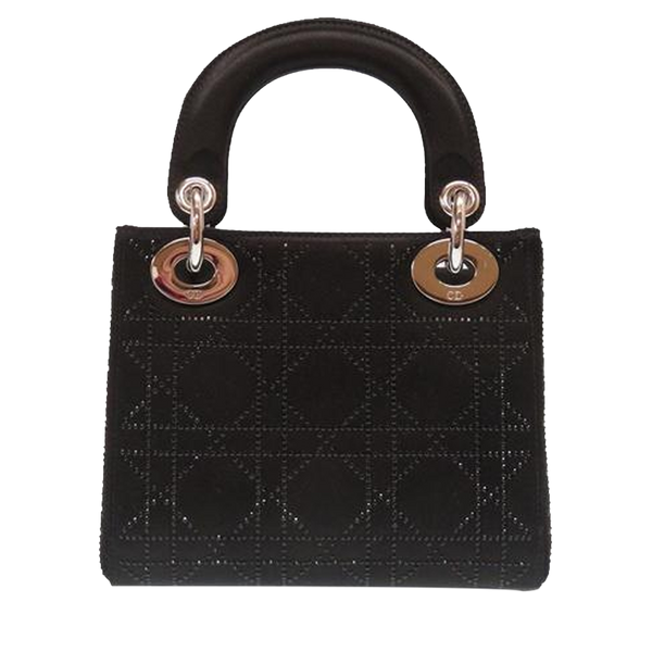 Buy & Consign Authentic Dior Black Cannage Quilted Satin Rhinestone Mini Lady Dior Tote at The Plush Posh
