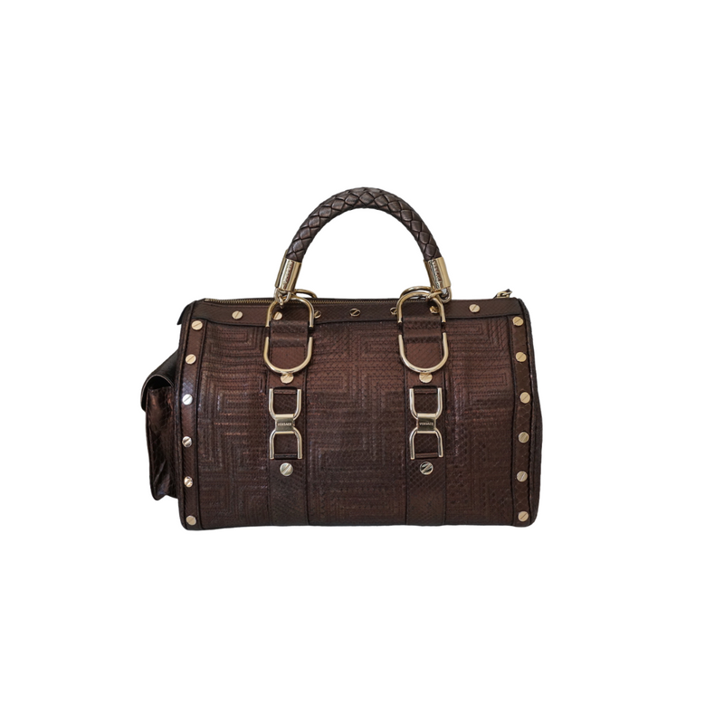 Versace Couture Snakeskin Embossed Leather Bronze Bag