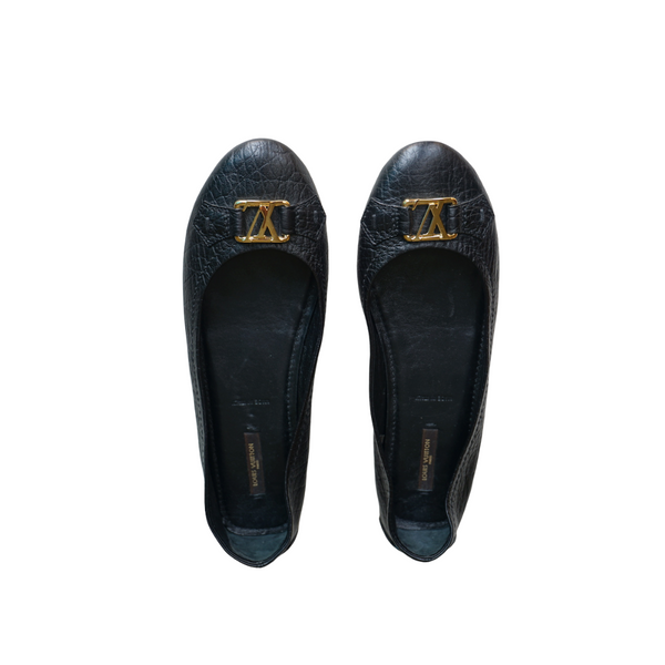 Louis Vuitton Leather Gold Logo Ballet Flats