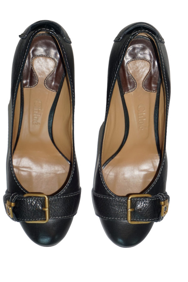 Chloe Black Leather Gold Buckle Pumps