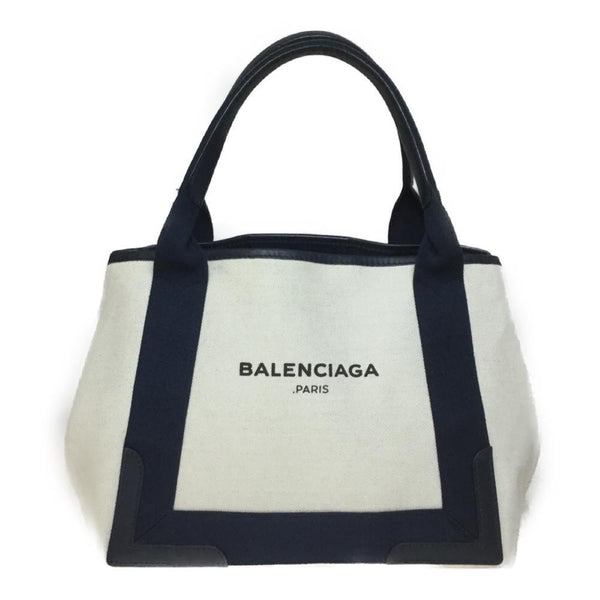 Buy & Consign Authentic Balenciaga Natural/Navy Canvas Navy Cabas XS Bag at The Plush Posh